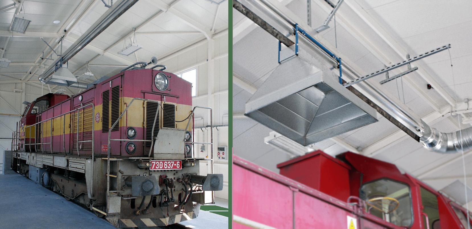 Odsávání spalin pro lokomotivy